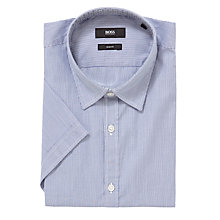 Buy BOSS Marco Striped Short Sleeve Shirt, Blue Online at johnlewis.com