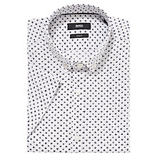 Buy BOSS Reed Slim Fit Micro Print Short Sleeve Shirt, White/Navy Online at johnlewis.com