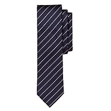 Buy BOSS Fine Stripe Textured Silk Blend Tie, Navy/Cream Online at johnlewis.com