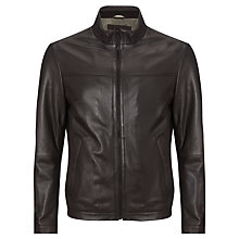 Buy BOSS Nilas Leather Jacket, Brown Online at johnlewis.com