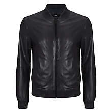 Buy BOSS Geert Perforated Leather Bomber Jacket, Navy Online at johnlewis.com