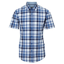 Buy BOSS Marco Check Short Sleeve Shirt, Blue Online at johnlewis.com