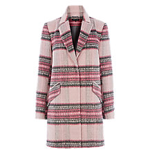 Buy Warehouse Check Coat, Pink Online at johnlewis.com