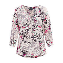 Buy Warehouse Drawn Floral Zip Front Blouse, Multi Online at johnlewis.com