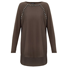 Buy Warehouse Jewel Trim Front Jumper, Khaki Online at johnlewis.com
