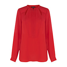 Buy Warehouse Concealed Zip Cut Out Blouse, Bright Red Online at johnlewis.com
