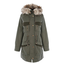Buy Warehouse Detachable Contrast Pocket Parka, Khaki Online at johnlewis.com