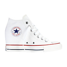 Buy Converse Hi-Top Core Canvas Concealed Wedge Trainers, White Online at johnlewis.com