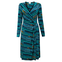 Buy East Alex Print Wrap Jersey Dress, Teal Online at johnlewis.com