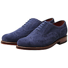 Buy Grenson Stanley Suede Brogues, Sapphire Online at johnlewis.com