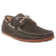 Buy Sebago Canton Nubuck Leather Moccasin Shoes, Dark Grey Online at johnlewis.com