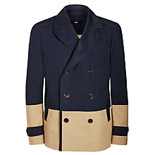 Buy BOSS Chion Bonded Cotton Colour Block Peacoat Jacket, Navy/Beige Online at johnlewis.com