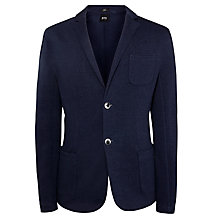Buy BOSS Davoli Slim Fit Jersey Blazer, Navy Online at johnlewis.com