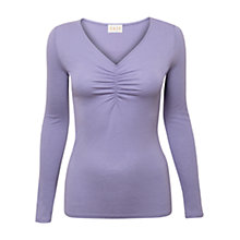 Buy East Ruched Front Jersey Top, Lavender Online at johnlewis.com