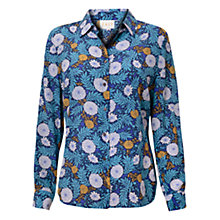 Buy East Thalia Print Silk Shirt, River Blue Online at johnlewis.com