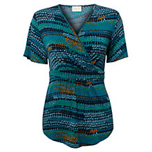 Buy East Alex Print Jersey Top, Teal Online at johnlewis.com