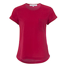 Buy French Connection Polly Plains Pocket Tee, Berry Punch Online at johnlewis.com