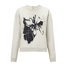 Buy Whistles Placement Floral Print Sweat Top, Pale Grey Online at johnlewis.com