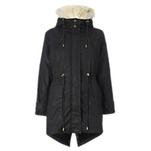 Buy Whistles Thea Waxy Parka, Black Online at johnlewis.com