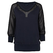 Buy French Connection Ditton Block Long Sleeve Top, Utility Blue/Black Online at johnlewis.com