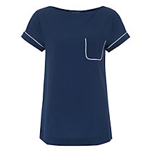 Buy French Connection Polly Piping Tee, Prussian Blue/Winter White Online at johnlewis.com