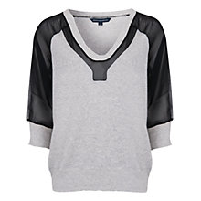 Buy French Connection Ditton Block Long Sleeve Top, Light Grey Melange Online at johnlewis.com