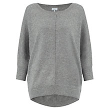 Buy Jigsaw Button Back Drop Hem Jumper, Light Grey Mel Online at johnlewis.com