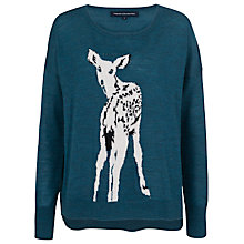 Buy French Connection Doe Deer Long Sleeve Crew Jumper, Pine Multi Online at johnlewis.com