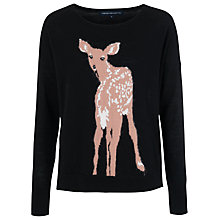 Buy French Connection Doe Deer Long Sleeve Crew Jumper, Black Online at johnlewis.com