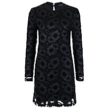 Buy French Connection Daisy Lace Long Sleeve Round Neck Dress, Black Online at johnlewis.com