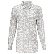 Buy John Lewis Capsule Collection Mosaic Linen Shirt, Morning Dove/Bright White Online at johnlewis.com