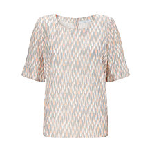 Buy John Lewis Capsule Collection Ikat Linen Top, Peach/Dove Online at johnlewis.com