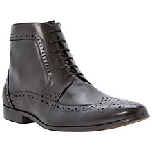 Buy Dune Minister Leather Ankle Brogue Boots, Black Online at johnlewis.com