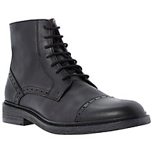 Buy Dune Chino Toecap Leather Lace-Up Boots, Black Online at johnlewis.com