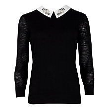 Buy Ted Baker Embellished Collar Jumper, Black Online at johnlewis.com