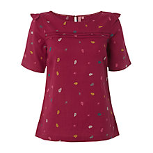Buy White Stuff Acorn Embroidered Top, Cranberry Online at johnlewis.com