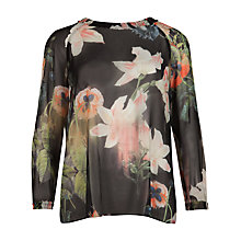 Buy Ted Baker Kubata Opulent Floral Top, Black Online at johnlewis.com