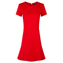 Buy Mango Decorative Seams Fitted Dress, Bright Red Online at johnlewis.com