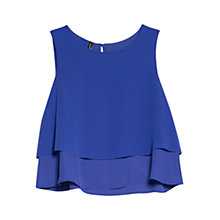 Buy Mango Ruffle Detail Top, Medium Blue Online at johnlewis.com