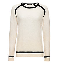 Buy Jaeger Boucle Tipped Sweater, Ivory / Black Online at johnlewis.com