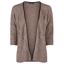 Buy Mango Faux Leather Trim Cardigan, Light Pastel Brown Online at johnlewis.com