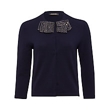 Buy Jaeger Sparkle Bow Neck Cardigan, Navy Online at johnlewis.com