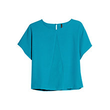 Buy Mango Chiffon T-Shirt, Turquoise/Aqua Online at johnlewis.com