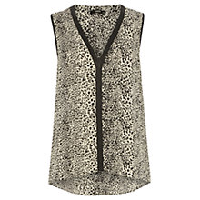 Buy Oasis Animal Faux Leather Trim Top, Black and White Online at johnlewis.com