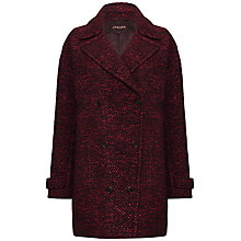 Buy Jaeger Double Breasted Textured Coat, Winter Berry / Black Online at johnlewis.com