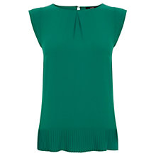Buy Oasis Pleat Hem Top, Green Online at johnlewis.com