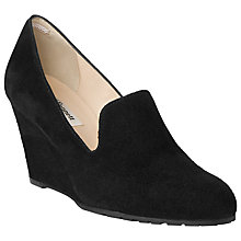Buy L.K. Bennett Bertha Suede Wedge Court Shoes, Black Online at johnlewis.com