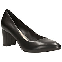 Buy Clarks Blissful Cloud Leather Block Heeled Court Shoes Online at johnlewis.com