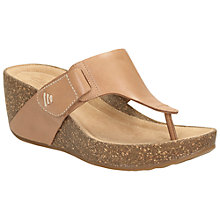 Buy Clarks Temira Leather Platform Wedge Sandals, Beige Online at johnlewis.com