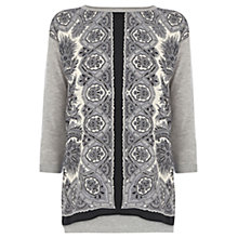 Buy Oasis Scarf Placement Woven Front Top, Multi Grey Online at johnlewis.com